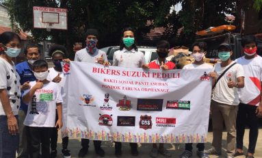 Aksi Sosial Bikers Suzuki Peduli Korban Kebakaran Panti Asuhan Pondok Taruna