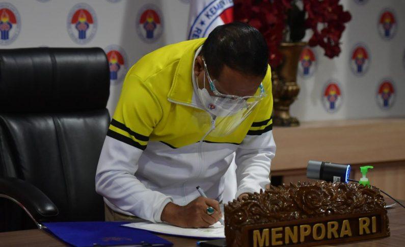 Teken Nota Kesepahaman dengan BNPB, Menpora RI: Penyelenggara Kompetisi Harus Disiplin dan Jalankan Protokol Kesehatan